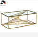 modern luxury stainless steel gold living room marble coffee table