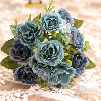 wholesale cheap blue artificial silk peony rose flowers for indoor outdoor decoration