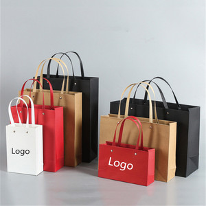 Luxury Rivet Metal Button Paper Shopping Bag With Logo Print