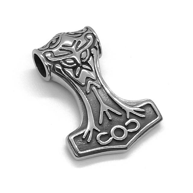 PiercingJ Colgante de Acero Inoxidable con dise/ño de Martillo de Thor Mjolnir de la mitolog/ía del Dios n/órdico Legendario