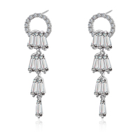 Elegant women full gemstone CZ zircon long drop pendant crystal accessories tassel earrings