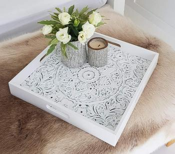 Terrific White Carved Wooden Decorative Serving Tray For Ottomans Buy Serving Tray Distressed Wood Serving Tray Teak Wood Serving Tray Product On Alibaba Com Spiritservingveterans Wood Chair Design Ideas Spiritservingveteransorg