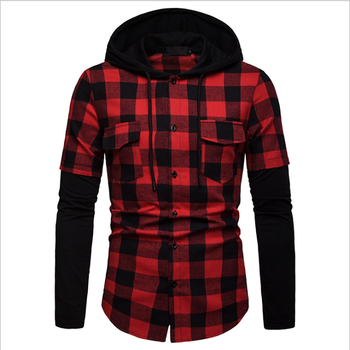 Europese stijl mens casual joint shirts hoodie check shirts