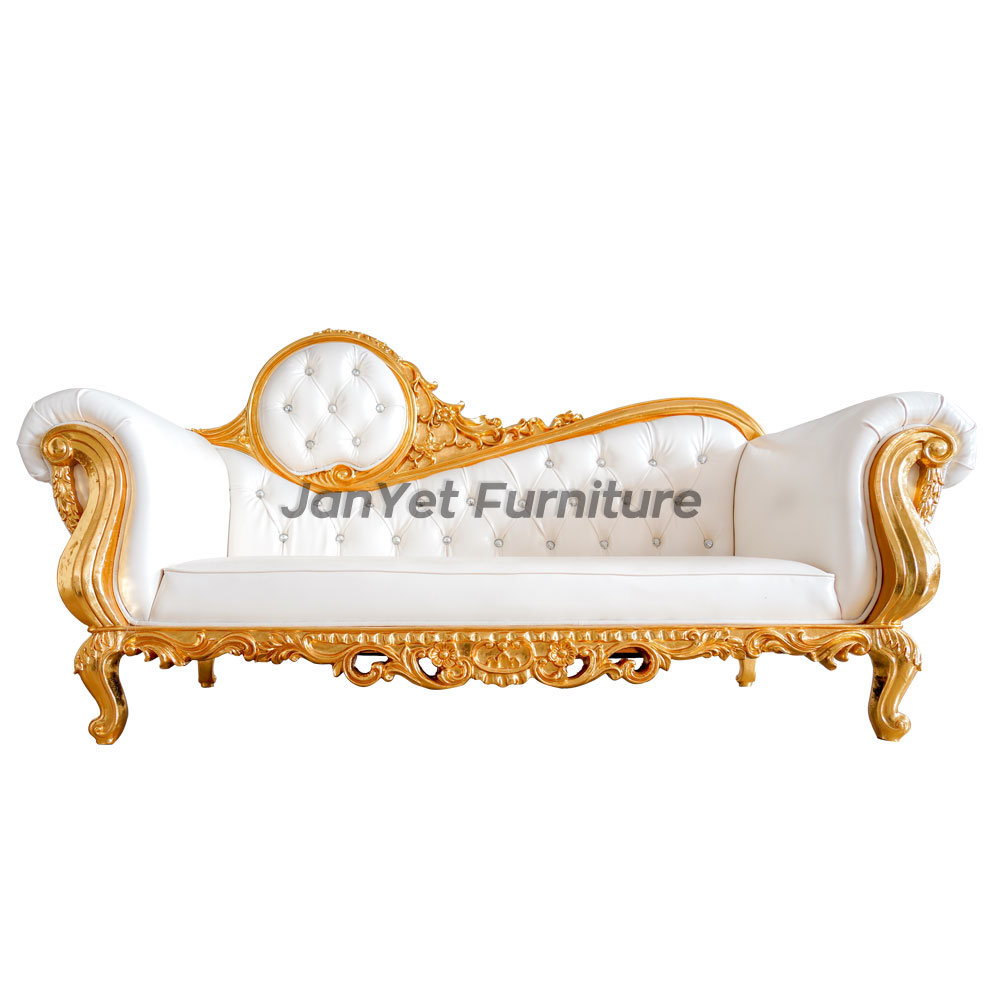 Factory direct golden white wood carved french luxury antique chaise lounge