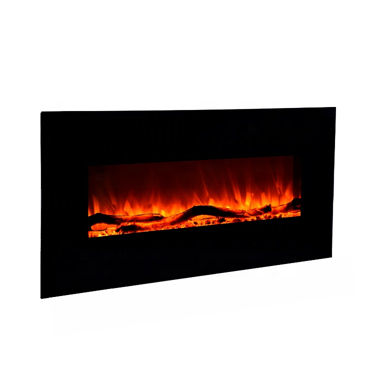Wall Mounted Insert Electric Fireplace With Flat Tempered Glass