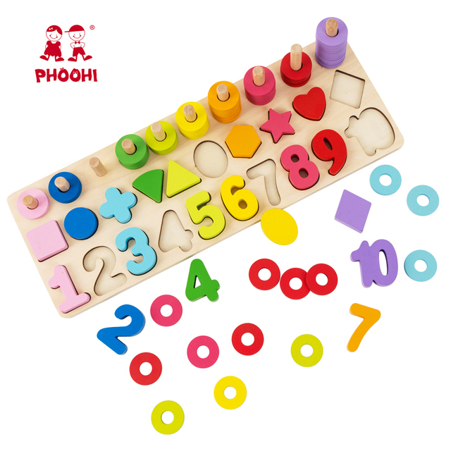 3 in 1 shape number recognition wooden activity matching board educational toy for kids 3+