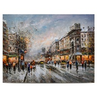Professional Supplier Traditional Winter Busy Paris Streetscape Oil Painting