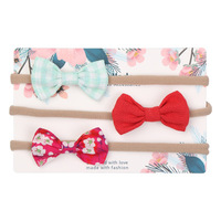 2019 little princess latest fashion soft nylon fabric new bow design baby girl hair accessories set