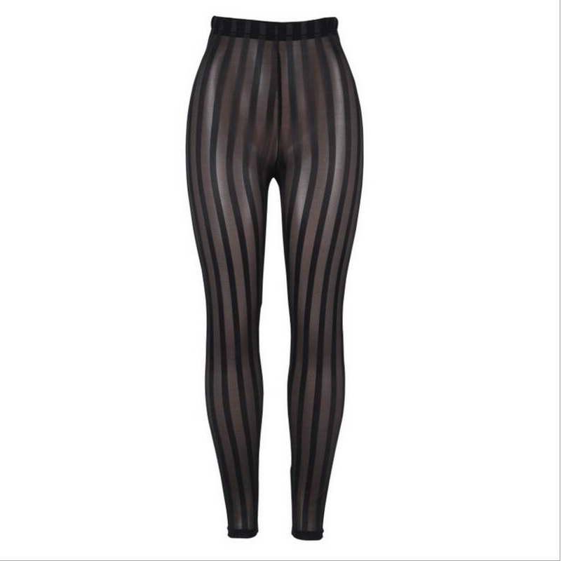 fc78948b3 Moda Leggings de malla de pantalones casuales transparente Sexy ropa  interior de las señoras de las