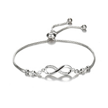 Luxurious Crystal Bracelet Silver Color Adjustable Infinity Charm Bracelets for Women Fashion Jewelry NS91161