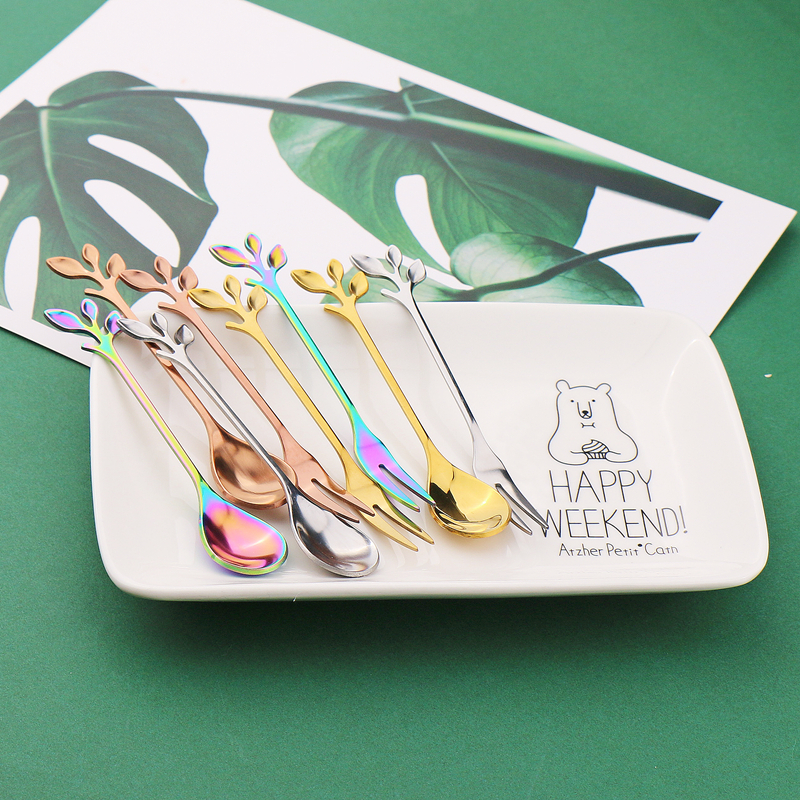 Jieyang Walwin Factory Metal Tea Spoon Gift Leaf Shape Espresso Spoon