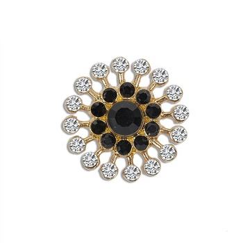 Gold alloy color with round shape rhinestone garment buttons