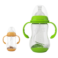 Baosheng bpa free anti-colic baby products simple 240ml 8oz temperature sensing pp baby milk feeding bottle with handle