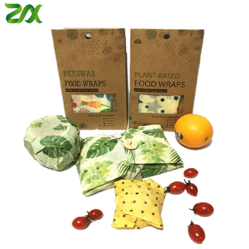 Sustainable Biodegradable Reusable Natural Organic Cotton Fabric Beeswax Food Wraps for Sandwich Lunch Pack