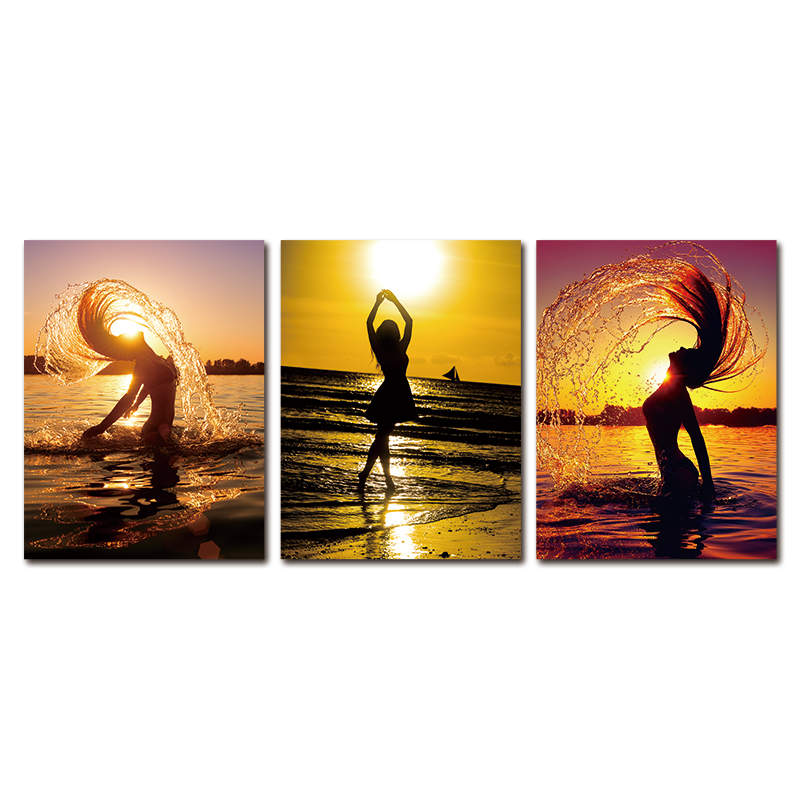 sunrising on sea and bikini girl painting art canvas large wall hanging <strong>picture</strong>