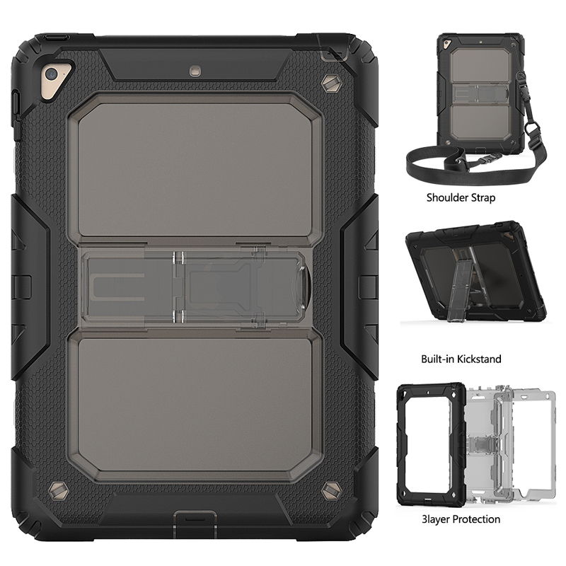 For <strong>iPad</strong> pro 9.7 bumper silicone and clear back hard shell case with shoulder strap