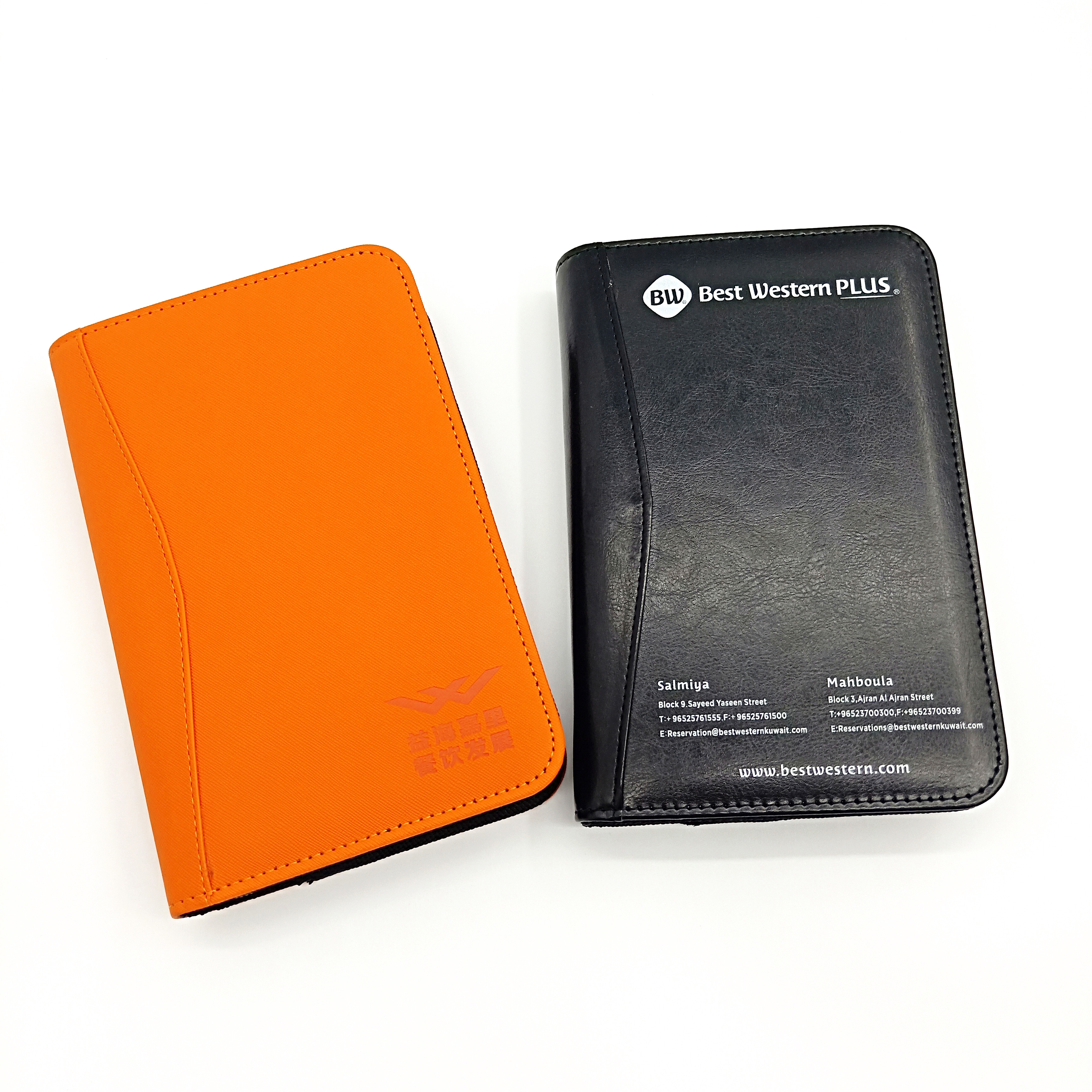 advertising pu leather cover a5 zippered padfolio&portfolio bag