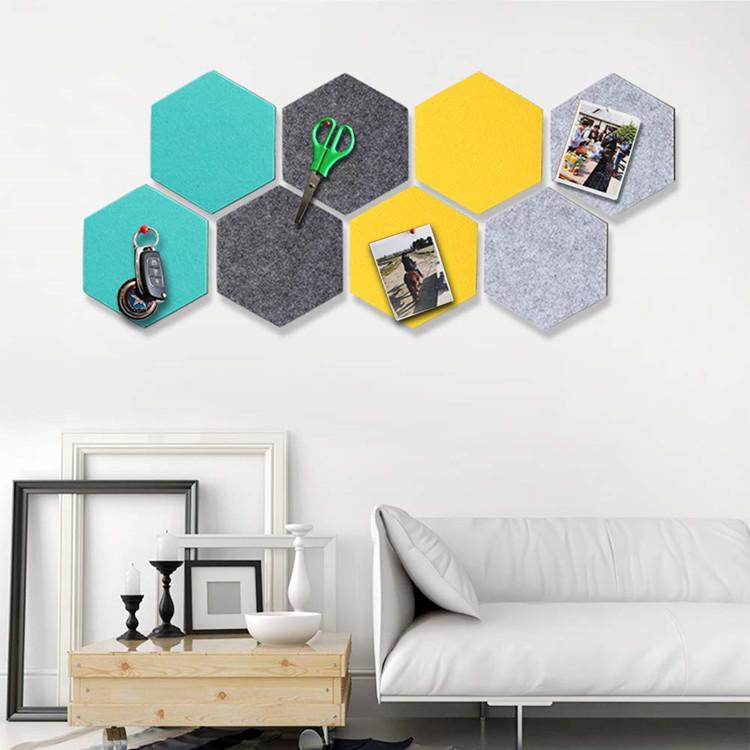 Foam Wall Decorative Tiles Hexagon Felt Board Tiles Felt Pin Board Self Adhesive Bulletin Memo Photo notice Cork Boards