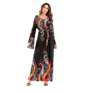 Modest Fashion Clothing for Islamic Women beautiful Printing Design Wrap Long Dress