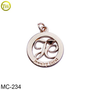 Metal custom logo jewelry tags engraveable round charm metal pendants