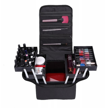 Portable Double Open Multi-Layer Professional Cosmetic Case Single Shoulder Portable Makeup Cosmetic Tool Storage Bag Black Box