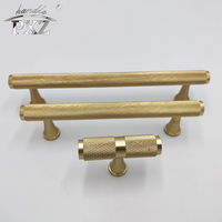 Cupboard Cabinet Solid Brass Knurled Handle And Knobs