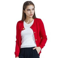 FREE SAMPLE Low MOQ Classic Ladies Red Bolero Shrug Cardigan Sweater