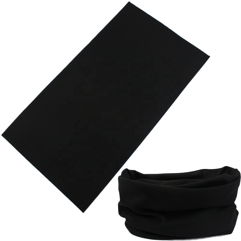 100% Polyester Multifunctional Plain Color <strong>Black</strong> <strong>Bandana</strong> Fast Delivery