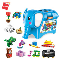 Qman Build And Learn Elephant Box Educational Toys Large Game Building Blocks compatible legoing