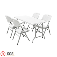 Metal furniture sets adjustable dinning folding table and chairs