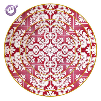 KQ0032 China wholesale hot sale red and white plate for wedding decoration