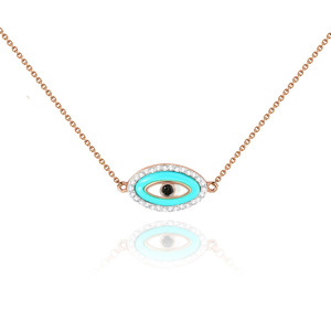 Fashion 925 sterling silver jewellery turquoise evil eye pendant necklace