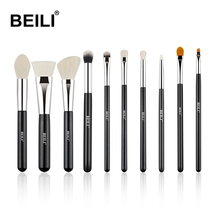 BEILI Professionelle Kosmetik <span class=keywords><strong>Pinsel</strong></span> <span class=keywords><strong>Set</strong></span> Abgewinkelt Silber Ferrule Schwarz 10 pcs gesicht <span class=keywords><strong>pinsel</strong></span> + auge <span class=keywords><strong>pinsel</strong></span> Make-Up <span class=keywords><strong>Pinsel</strong></span> <span class=keywords><strong>Set</strong></span> Private logo
