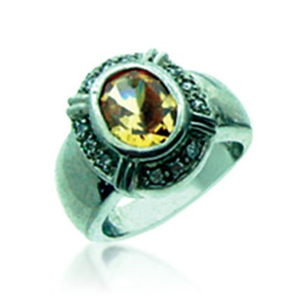 Classic design general silver tiger eye stone ring