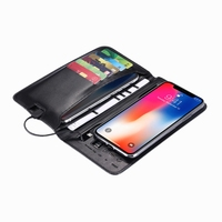 PU Leather wireless Charging Wallet Power Bank 6800mah charger wallet with power bank