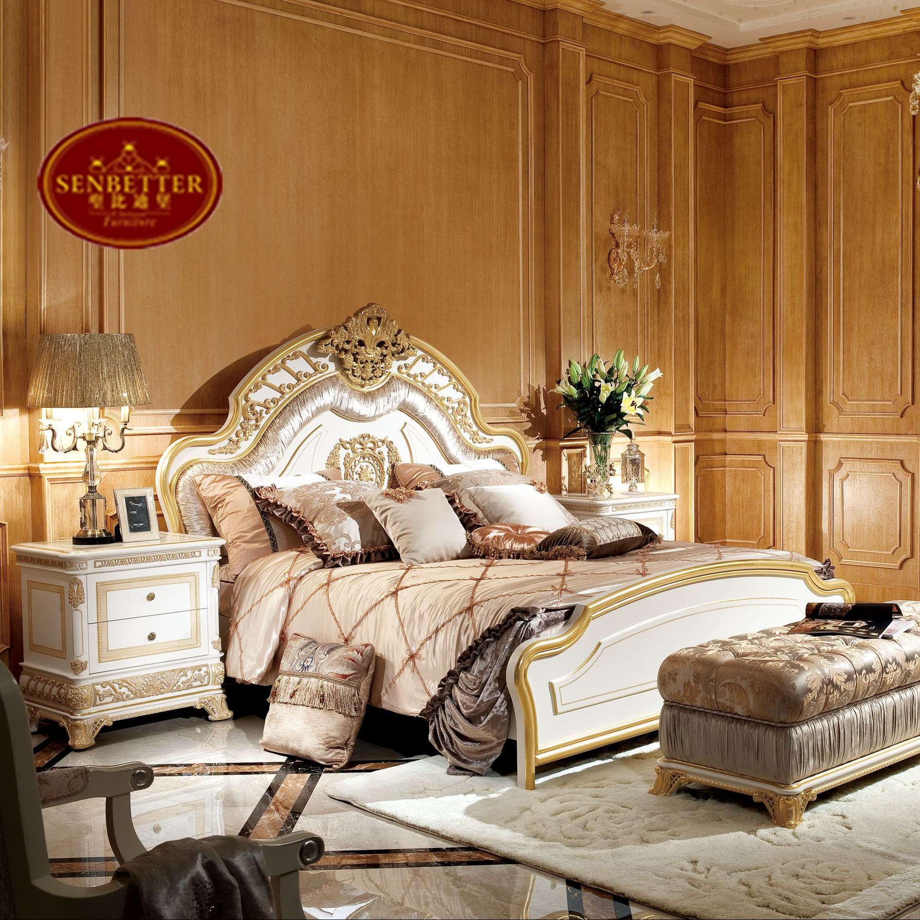 0062 New Arrival White & Gold French Style Bed Set,Noble Solid Wood Bedroom  Furniture - Buy French Bed,White Bedroom Set,Wood Bedroom Set Product on ...