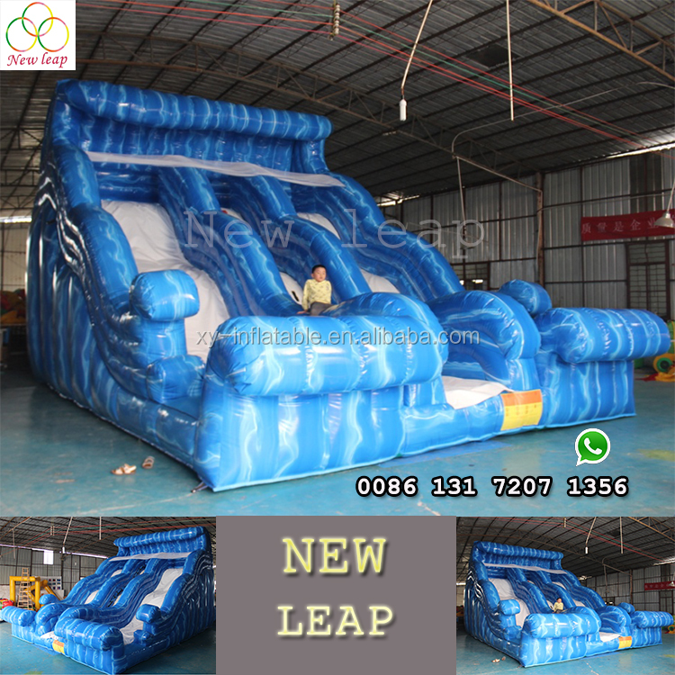 Commercial grade best PVC Blue sea water wave giant slide inflatable for adult