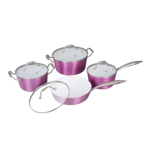Russia Hot sell 8 pcs Pink Color Aluminum Non-stick Cookware Sets