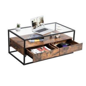 living room furniture industrial wood metal iron frame decoration center tea table glass top coffee table with 2 drawers