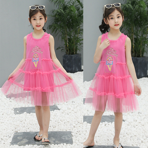 New Fashion Summer Children 4 Years Old Girl Dress Purplish Red Gauze Kids Frock Design Sleeveless Girl Tulle Frock Dress
