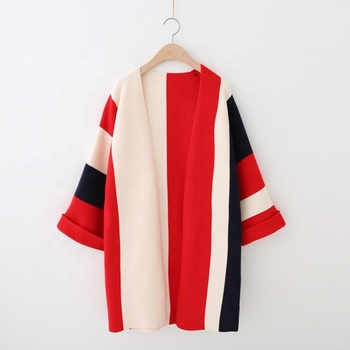 Women's Long Flanging Sleeve Vertical Stripes Spliced Knit Sweater Coat