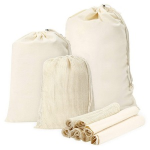 Organic Reusable Drawstring Cotton Mesh Produce Bag For Fruit