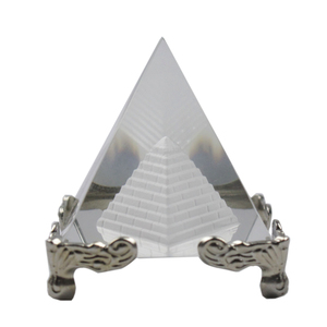 Personalized Engraving Glass Pyramid Paperweight In Crystal Crafts With Silver Base