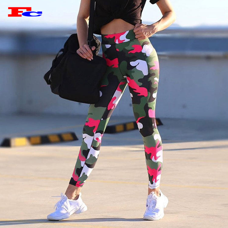 Custom Hoge Taille Workout Camo Fitness Vrouwen Yoga Leggings Push Up Broek Panty Gym Dragen