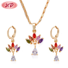 Colorful zircon jewelry set dubai gold plated jewelry, cheap necklace and earrings set