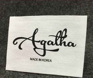 Free sample custom brand logo design low price neck woven label sew on men t shirts