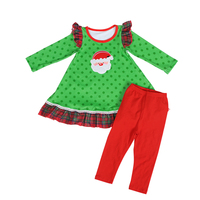 Newborn Baby Clothes Milk Silk Long Ruffle Sleeve Santa Claus Applique Christmas Girl Outfit