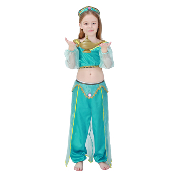 Girls Aladdin Lamp Jasmine Princess Halloween Party Belly Dance Dress Indian Costume
