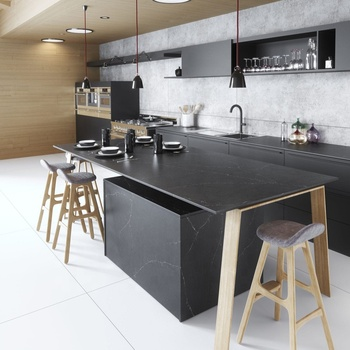 High quality artificial stone table top solid surface kitchen quartz countertop black with white veins