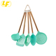 5 Piece Mint Nylon Cooking Utensil Set on a Ring with Rose Gold Copper Handles